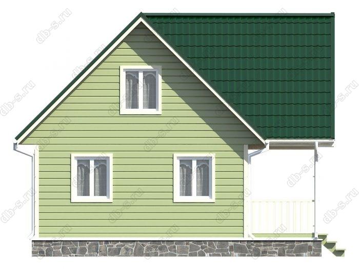 Каркасный дом 6х8 терраса (веранда) двухскатная крыша