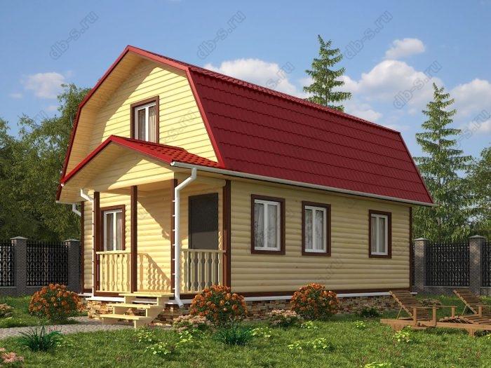 Проект с мансардой 6 на 8 дом из профилированного бруса терраса (веранда) ломаная крыша вальмовая крыша санузел (туалет)