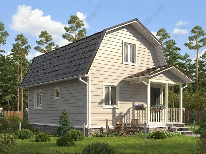Проект с мансардой 6 на 8 каркасный дом под ключ терраса (веранда) ломаная крыша вальмовая крыша санузел (туалет)