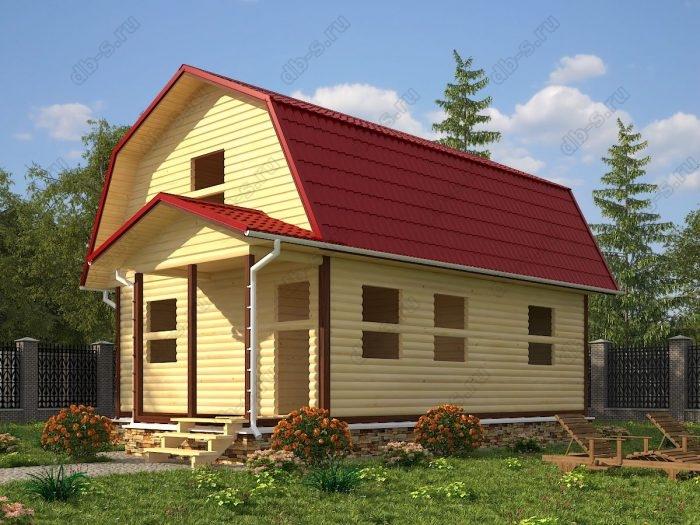 Проект с мансардой 6 на 8 сруб под усадку терраса (веранда) ломаная крыша вальмовая крыша санузел (туалет)