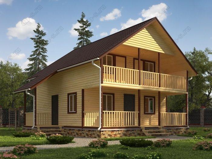 Двухэтажный проект 9.5 на 10 дом из профилированного бруса терраса (веранда) балкон двухскатная крыша санузел (туалет)