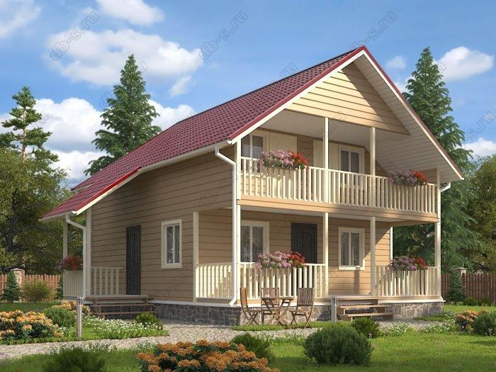 Двухэтажный проект 9.5 на 10 каркасный дом под ключ терраса (веранда) балкон двухскатная крыша санузел (туалет)