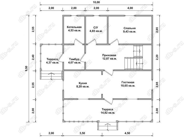 Планировка двухэтажного дома 9.5 на 10