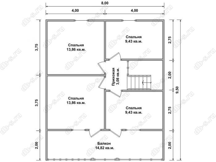 Планировка второго этажа дома 9.5 на 10