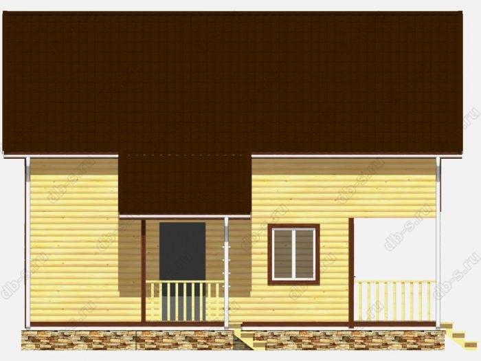 Дом из бруса 9.5х10 терраса (веранда) балкон двухскатная крыша