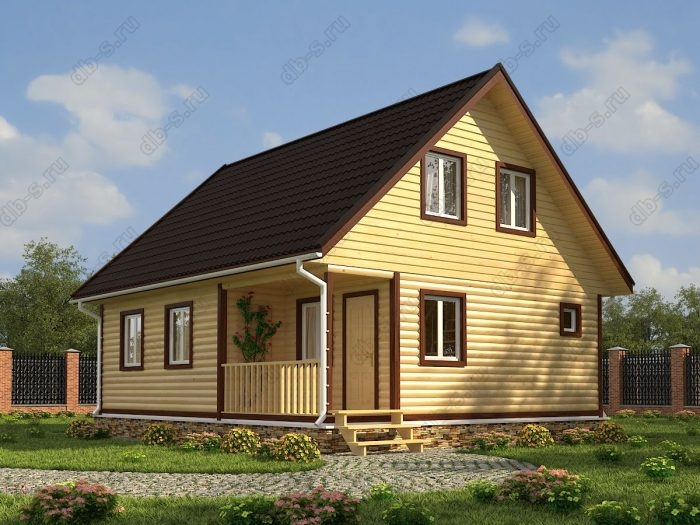 Проект с мансардой 9 на 7.5 дом из профилированного бруса терраса (веранда) двухскатная крыша санузел (туалет)