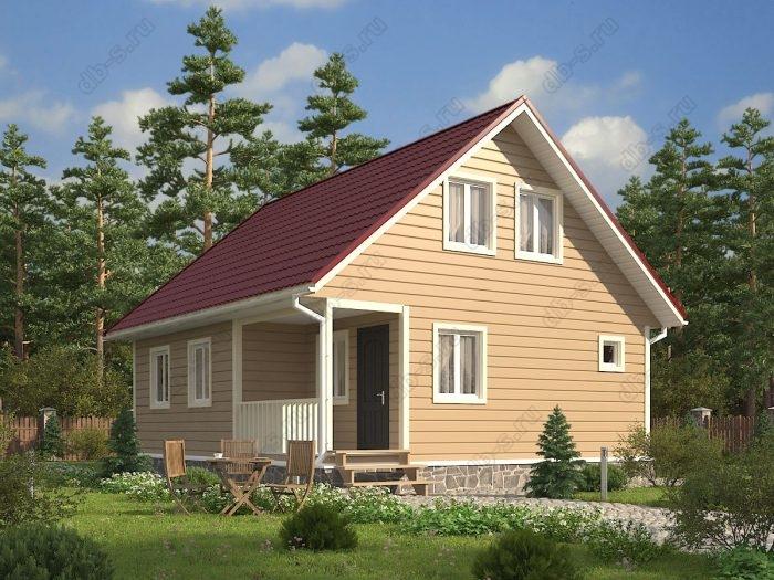 Проект с мансардой 9 на 7.5 каркасный дом под ключ терраса (веранда) двухскатная крыша санузел (туалет)