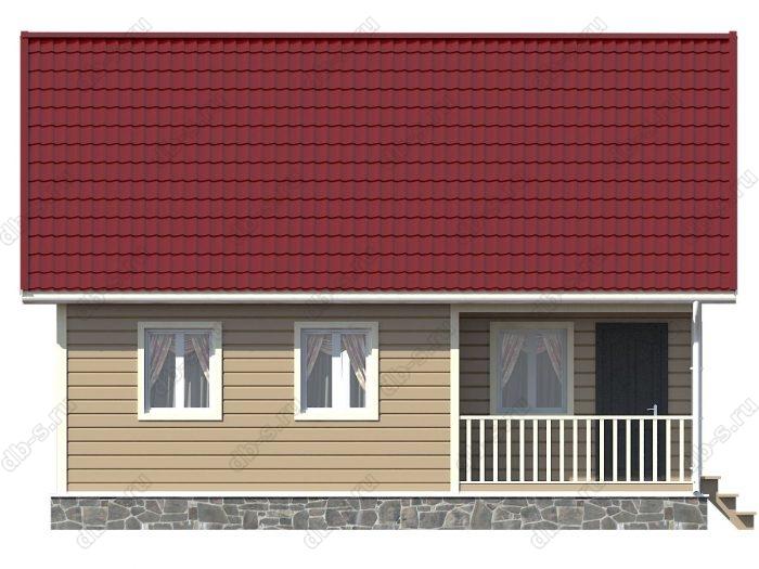 Каркасный дом 9х7.5 терраса (веранда) двухскатная крыша
