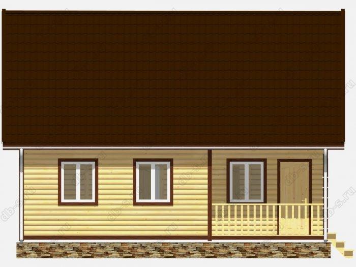 Дом из бруса 9х7.5 терраса (веранда) двухскатная крыша