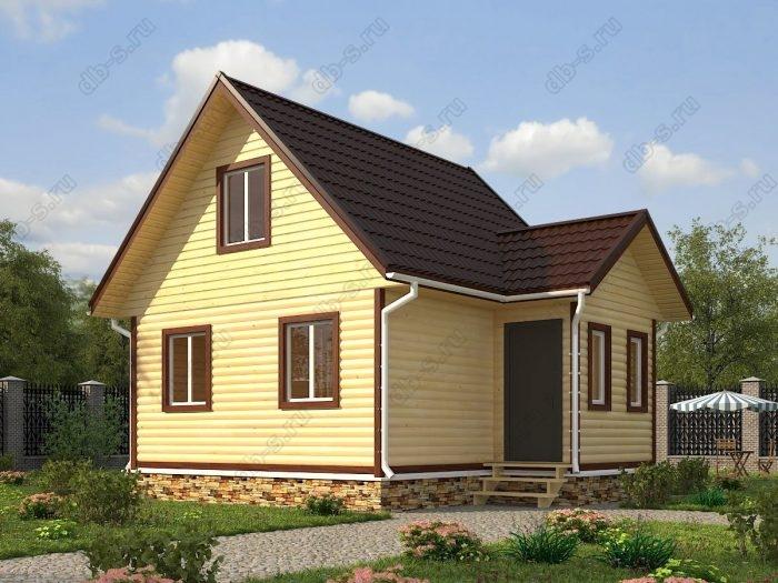 Проект с мансардой 6 на 7.5 дом из профилированного бруса двухскатная крыша санузел (туалет)