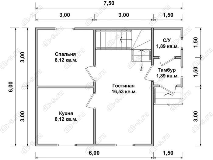 Планировка дома с мансардой 6 на 7.5