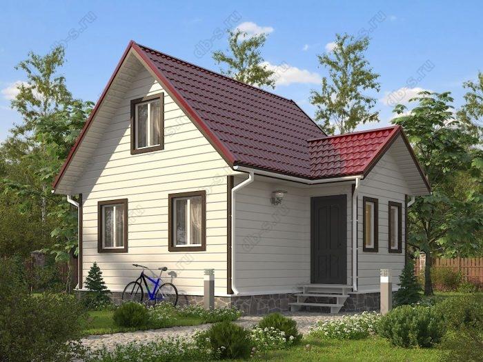 Проект с мансардой 6 на 7.5 каркасный дом под ключ двухскатная крыша санузел (туалет)