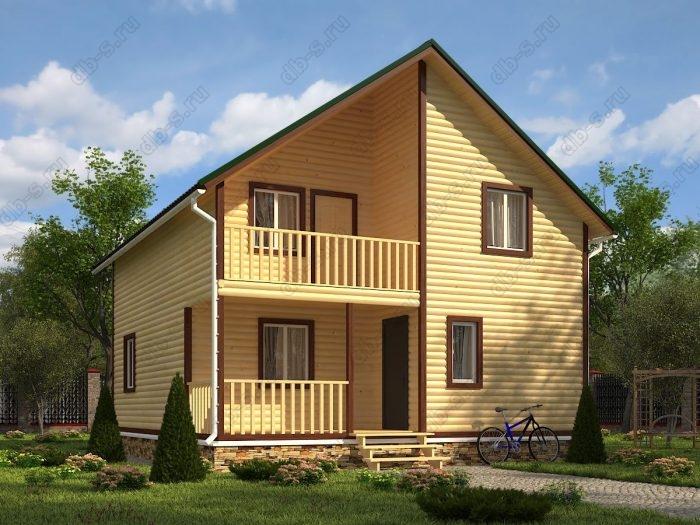 Двухэтажный проект 8 на 9 дом из профилированного бруса терраса (веранда) балкон двухскатная крыша санузел (туалет)