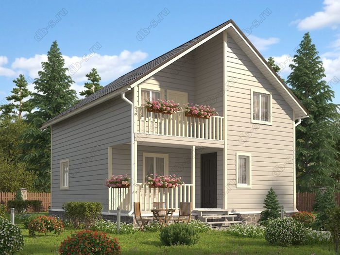 Двухэтажный проект 8 на 9 каркасный дом под ключ терраса (веранда) балкон двухскатная крыша санузел (туалет)