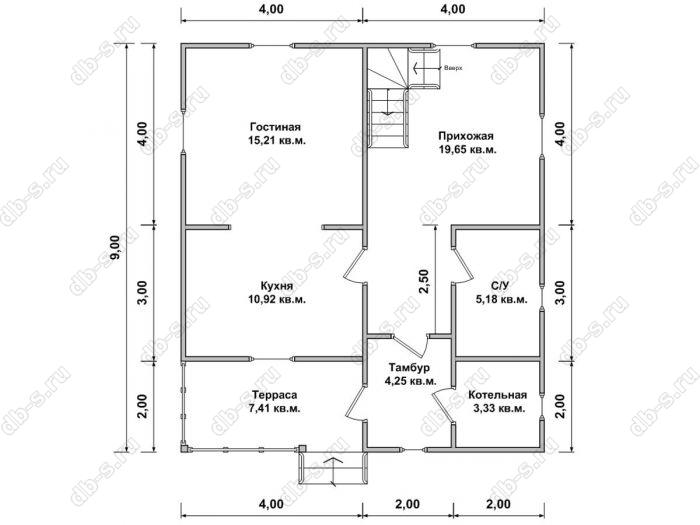 Планировка двухэтажного дома 8 на 9