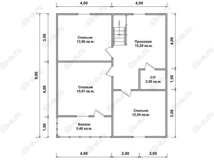 Планировка второго этажа дома 8 на 9