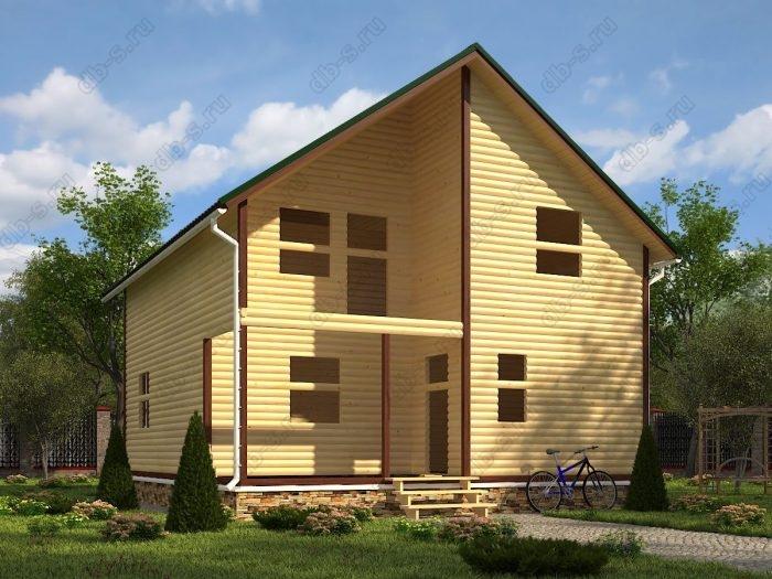 Двухэтажный проект 8 на 9 сруб под усадку терраса (веранда) балкон двухскатная крыша санузел (туалет)