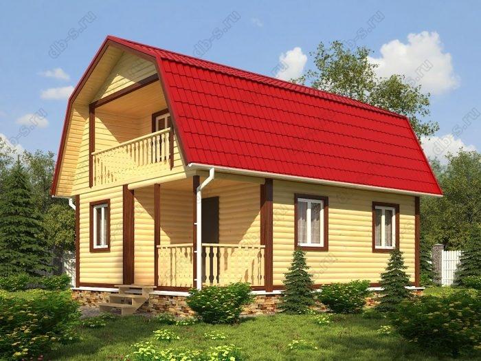 Проект с мансардой 6 на 8 дом из профилированного бруса терраса (веранда) балкон ломаная крыша вальмовая крыша санузел (туалет)