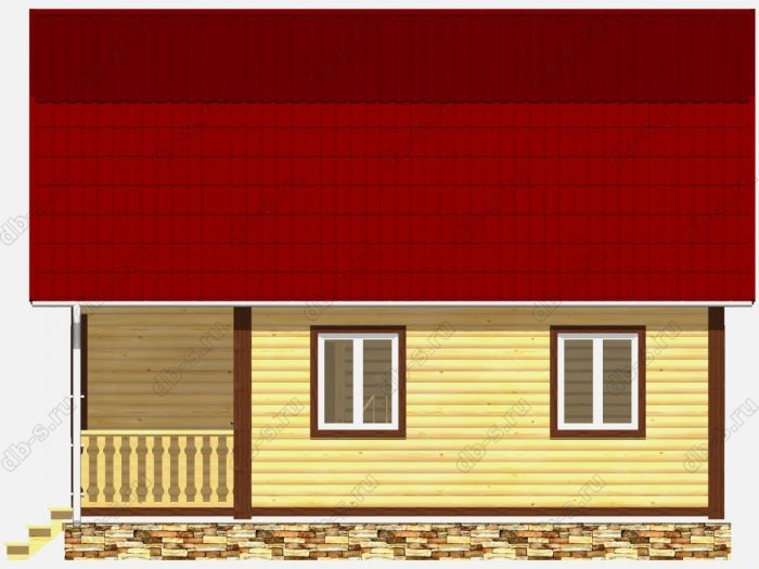 Дом из бруса 6х8 терраса (веранда) балкон ломаная крыша вальмовая крыша