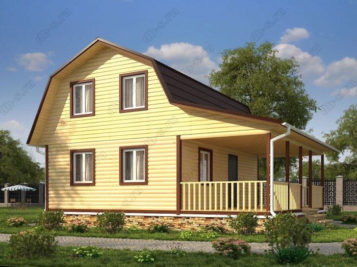 Проект с мансардой 8 на 9 дом из профилированного бруса терраса (веранда) ломаная крыша вальмовая крыша санузел (туалет)