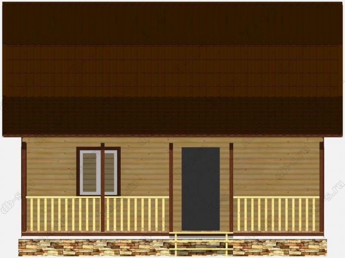 Дом из бруса 8х9 терраса (веранда) ломаная крыша вальмовая крыша