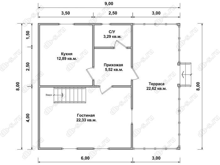 Планировка дома с мансардой 8 на 9