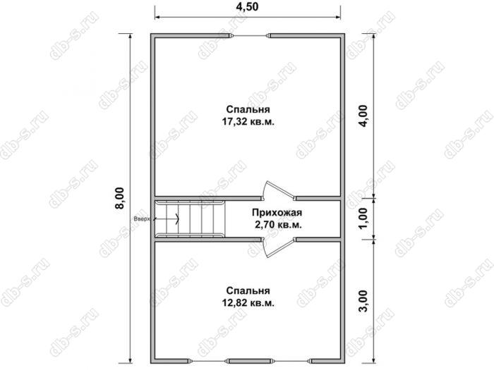 Дом 8 на 9 план мансардного этажа
