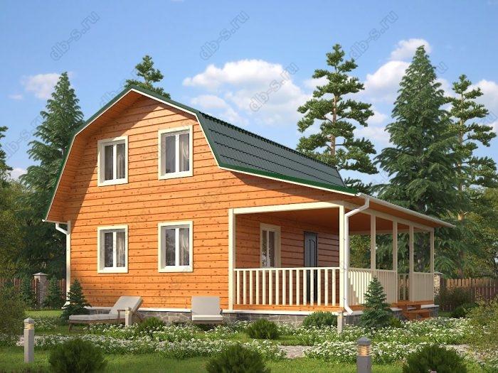 Проект с мансардой 8 на 9 каркасный дом под ключ терраса (веранда) ломаная крыша вальмовая крыша санузел (туалет)