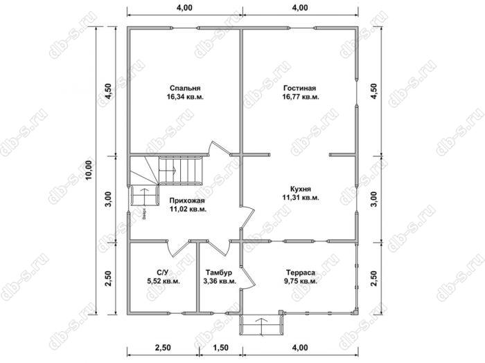 Планировка двухэтажного дома 8 на 10