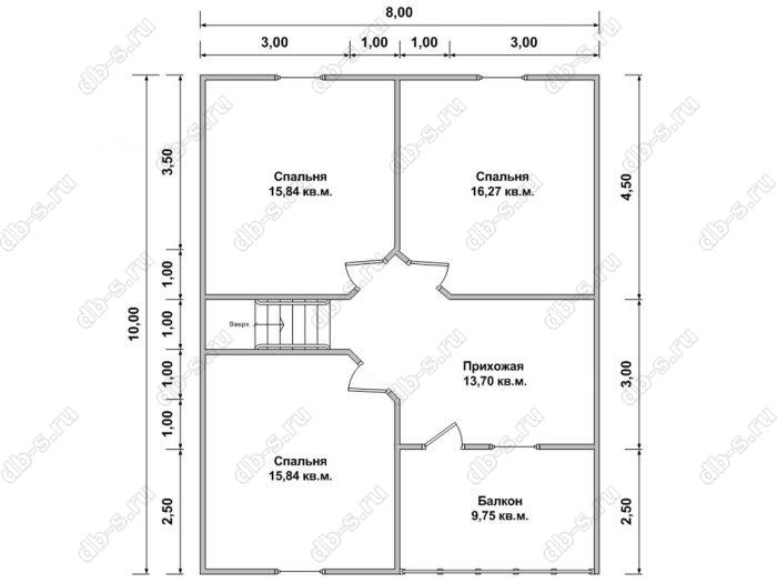Планировка второго этажа дома 8 на 10