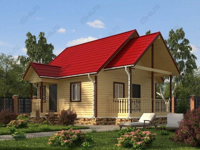 Проект с мансардой 6 на 7 дом из профилированного бруса терраса (веранда) двухскатная крыша санузел (туалет)