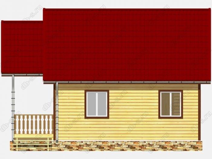 Дом из бруса 6х7 терраса (веранда) двухскатная крыша