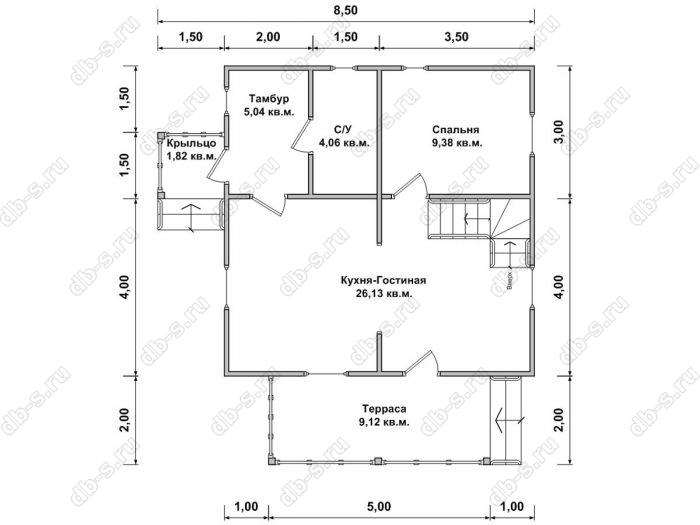 Планировка дома с мансардой 6 на 7