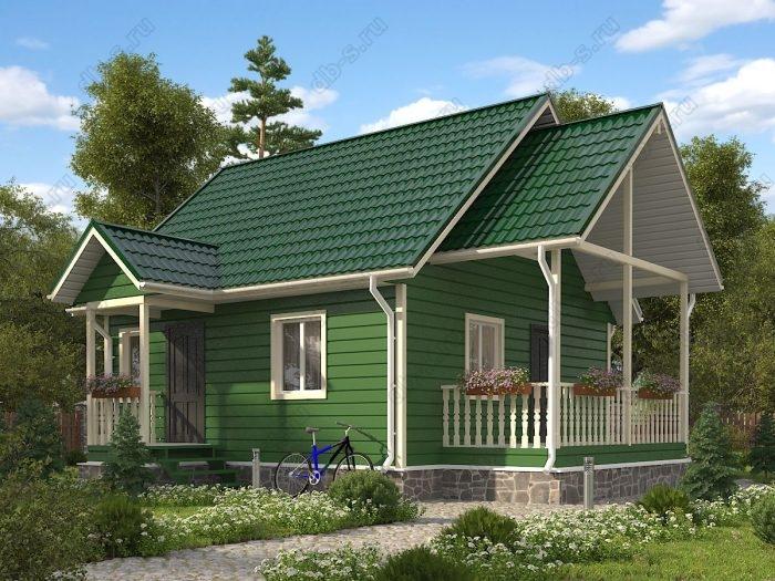 Проект с мансардой 6 на 7 каркасный дом под ключ терраса (веранда) двухскатная крыша санузел (туалет)