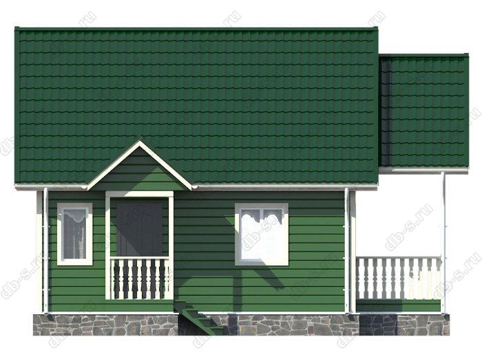 Каркасный дом 6х7 терраса (веранда) двухскатная крыша