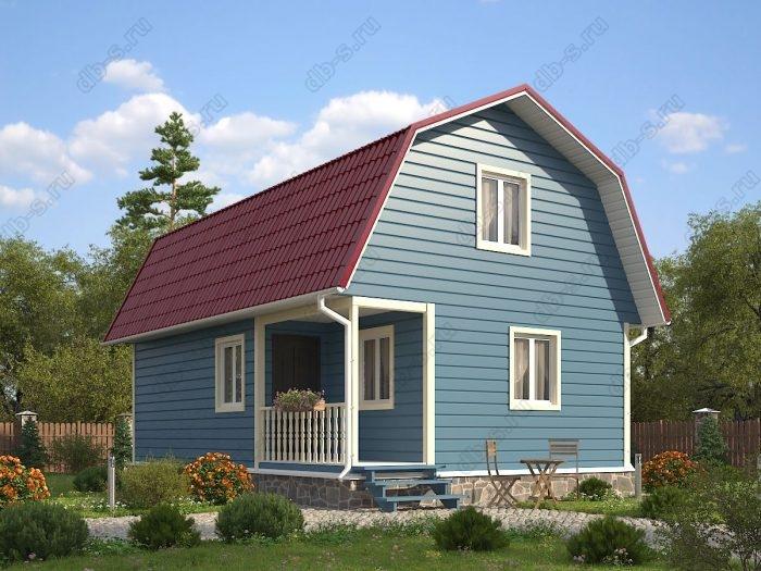 Проект с мансардой 6 на 9 каркасный дом под ключ терраса (веранда) двухскатная крыша санузел (туалет)