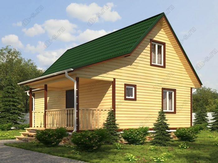 Проект с мансардой 6 на 9 дом из профилированного бруса терраса (веранда) двухскатная крыша санузел (туалет)