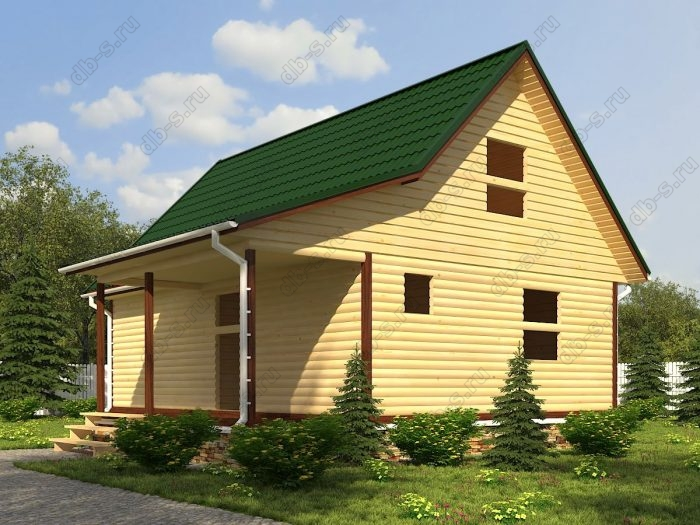Проект с мансардой 6 на 9 сруб под усадку терраса (веранда) двухскатная крыша санузел (туалет)