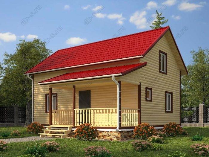 Двухэтажный проект 6 на 9 дом из профилированного бруса двухскатная крыша санузел (туалет)