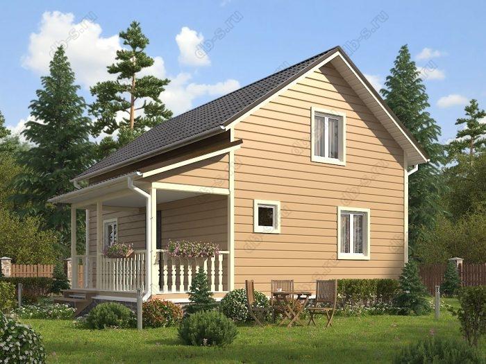 Двухэтажный проект 6 на 9 каркасный дом под ключ двухскатная крыша санузел (туалет)