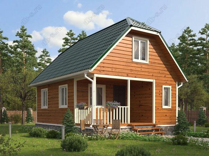 Проект с мансардой 6 на 8 каркасный дом под ключ терраса (веранда) двухскатная крыша санузел (туалет)