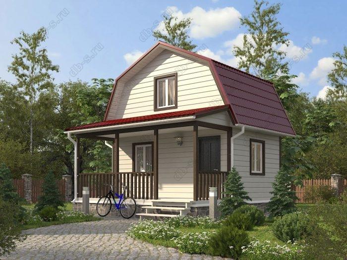 Проект с мансардой 6 на 6 каркасный дом под ключ терраса (веранда) ломаная крыша вальмовая крыша