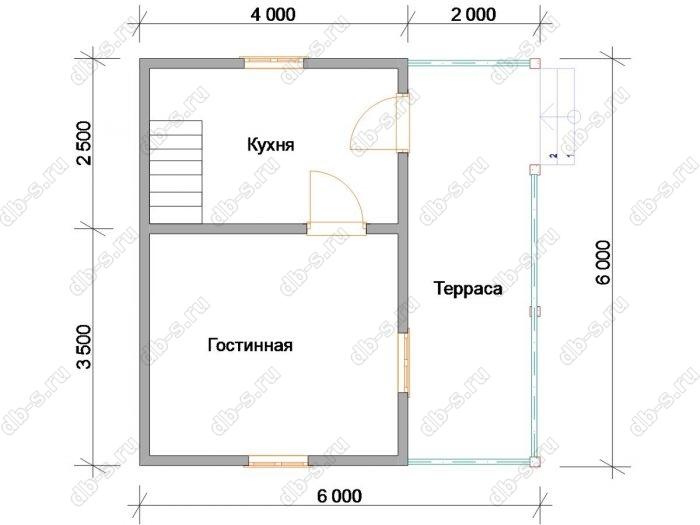 Планировка дома с мансардой 6 на 6