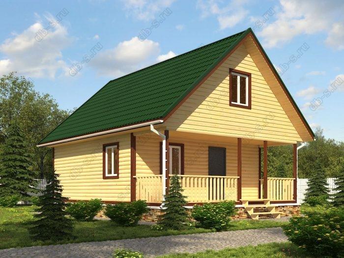 Проект с мансардой 7 на 9 дом из профилированного бруса терраса (веранда) двухскатная крыша санузел (туалет)