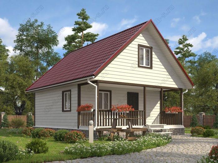 Проект с мансардой 7 на 9 каркасный дом под ключ терраса (веранда) двухскатная крыша санузел (туалет)