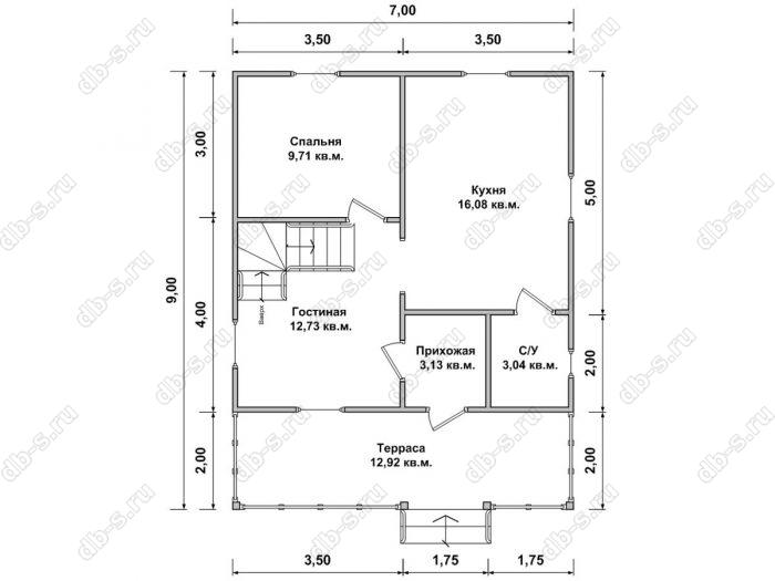 Планировка дома с мансардой 7 на 9