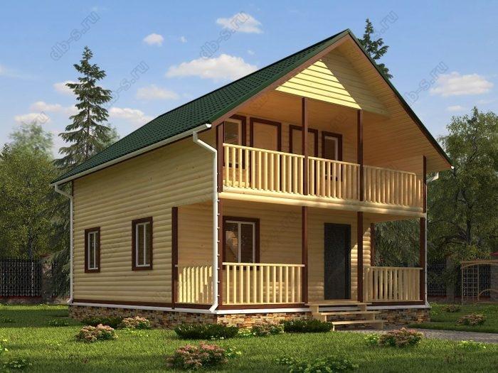 Двухэтажный проект 7 на 9 дом из профилированного бруса терраса (веранда) балкон двухскатная крыша санузел (туалет)