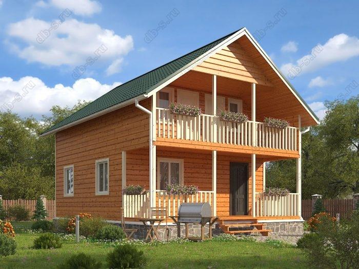 Двухэтажный проект 7 на 9 каркасный дом под ключ терраса (веранда) балкон двухскатная крыша санузел (туалет)