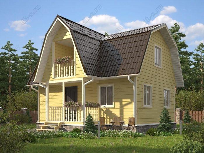 Проект с мансардой 6 на 8 каркасный дом под ключ терраса (веранда) балкон ломаная крыша вальмовая крыша санузел (туалет)