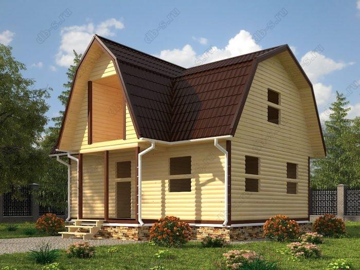 Проект с мансардой 6 на 8 сруб под усадку терраса (веранда) балкон ломаная крыша вальмовая крыша санузел (туалет)
